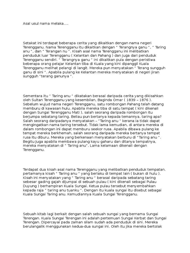 Asal Usul Nama Melaka Docx