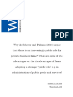 Why do Scherer and Palazzo (2011) argue that there is an increasingly public role for private business firms? What are some of the advantages vs. the disadvantages of firms adopting a stronger 'public role' e.g. in administration of public goods and services?