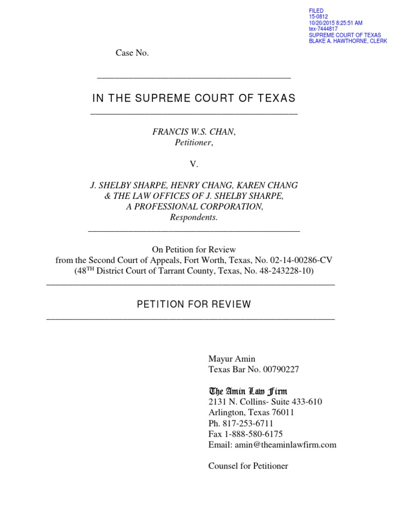 Petition for review to the texas supreme court lawsuit tort aiddatafo Choice Image