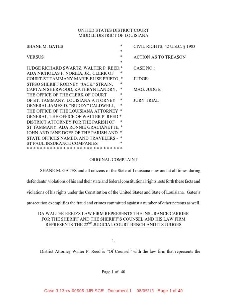 Shane Gates v Judge Richard Rick Swartz Treason Lawsuit St