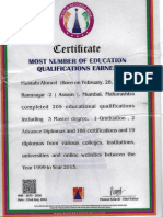 Certificate of World Record India