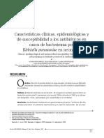 Caracteristicas Clinicas, Epidemiologicas y de Susceptibilidad a Antibioticos en Casos de Bacteriemia Por K. Pneumoniae en Neonatos