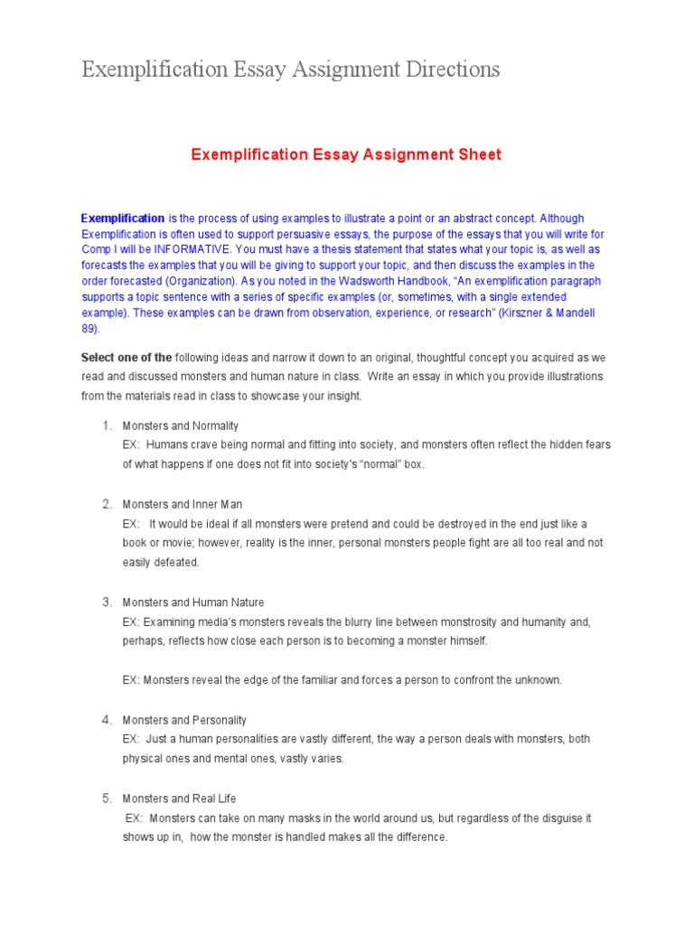 a good exemplification essay Examples of good exemplification essay topics: is it necessary to have a college degree today it's hard to find a person today that would disagree with the fact that a college degree is critical for your future.