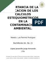 Importancia de La Aplicacion de Los Calculos Estequiometricos en La Contaminacion Ambiental