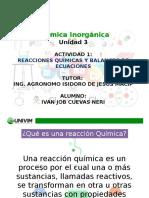 Reacciones Químicas y balanceo de ecuaciones