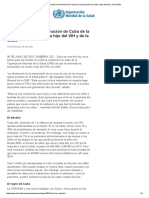 La OMS Valida La Eliminación de Cuba de La Transmisión de Madre a Hijo Del VIH y de La Sífilis
