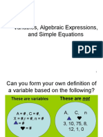 Variables, Algebraic Expressions, and Simple Equations_1_.ppt