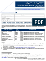 Health and Safety Prepurchase Risk Assessment Checklist