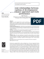 Different Relationships Between Perceptions of Developmental Performance Appraisal and Work Performance
