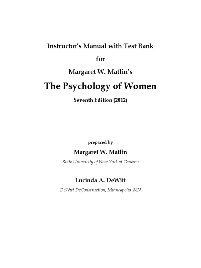 Psyc of Women Test Bank | Gender Role | Stereotypes