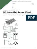 PLTS Terpusat 9 KWp _ Pembangkit Listrik Tenaga Surya _ Komunal Off Grid _ 50 Rumah _ Spesifikasi Teknis