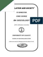 Population and Society VI Sem BA Sociology