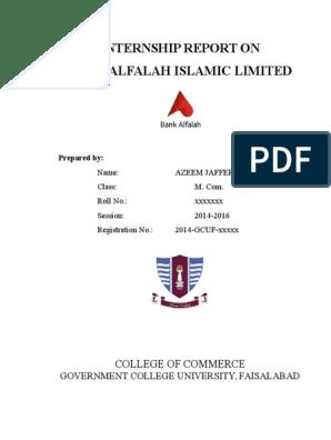 Internship Report Bank Alfalah Islamic Ltd  By AZEEM JAFFERY