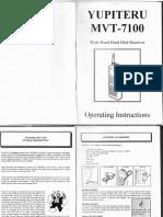 Scanner Radio Yupiteru MVT 7100 Wide Band Hand Held Receiver Operating Instructions