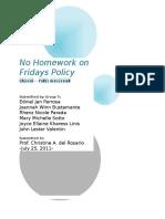English--no Homework on Fridays Policy