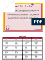 Spanish Adjectives Charts for Masculine and Feminine