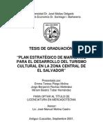 Tesis de Graduación- Plan Estratégico de Marketing Para El Desarrollo Del Turismo Cultural en La Zona Central de El Salvador