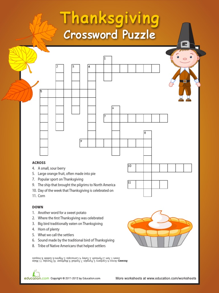 Thanksgiving Crossword Puzzle 4 Thanksgiving Cuisine