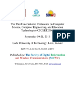 Proceedings of The Third International Conference on Computer Science, Computer Engineering, and Education Technologies (CSCEET2016), Poland, September 2016