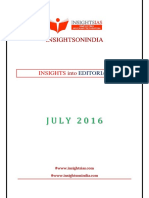 Insights on India Editorial July 2016