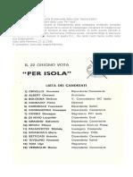 1986 BOLOGNA 22 GIUGNO  VICE COMMISSARIO DC ISOLA  40 VOTI  PER ISOLA ALBERT CRIVELLO VINCENZO PALAZZOTTO TOIA UGO MICALI FILIPPO