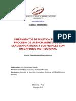 Lineamientos Politica Para Proceso de Licenciamiento