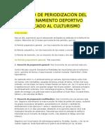 Ejemplo de Periodización Del Entrenamiento Deportivo Aplicado Al Culturismo