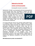 2012-02 Editorial for the Month of February 2012 (Vaccination and Homoeopathy)