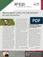 Mise en garde contre une 'judiciarisation' de notre économie! , Infor FEB 20, 3 juin 2010