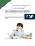 5 Consejos Para Enseñar Matemáticas a Alumnos de Lento Aprendizaje