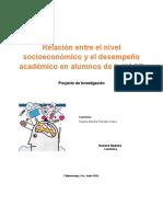 Proyecto Nivel Socioeconómico y desempeño académico
