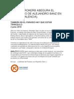 QUALITYBROKERS ASEGURA EL CONCIERTO DE ALEJANDRO SANZ EN GANDÍA