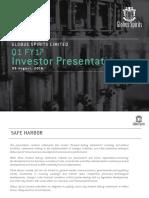 Investor Presentation for June 30, 2016 [Company Update]