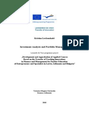 investment analysis portfolio management scribd