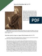 John Adams Speech in Support of the Declaration