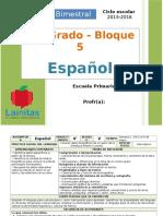 Plan 4to Grado - Bloque 5 Español