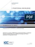 International Chamber of Commerce Paper on Protecting Traditional Knowledge to WIPO 2016