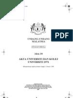 Akta 30, Akta Universiti dan Kolej Universiti 1971