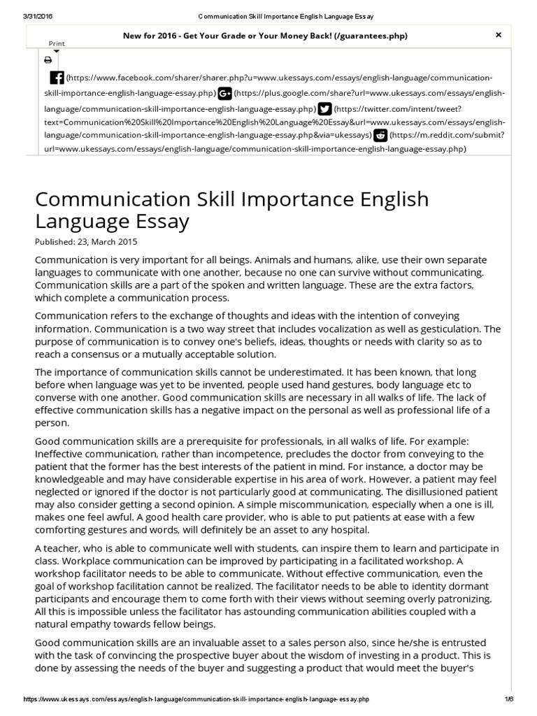 Captivating Communication Skill Importance English Language Essay | Communication |  Nonverbal Communication