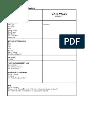 Valve Datasheets xls | Valve | Fluid Dynamics