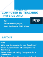 Applications of Computer in Teaching Physics and Mathematics