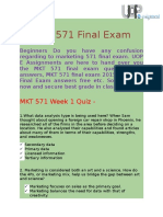 MKT 571 & MKT 571 Final Exam Answers - UOP E Assignments