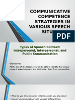 Communicative Competence Strategies in Various Speech Situations