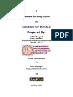 Summer Training report Casting