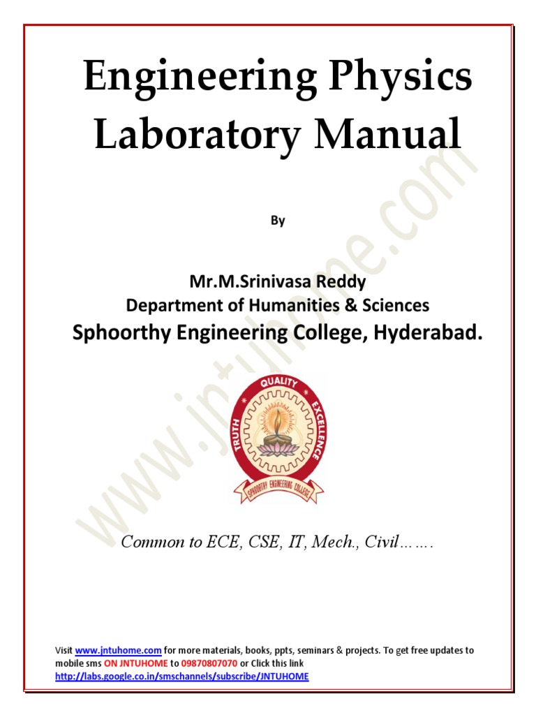 jntu b tech 1st year physics lab manual all experiments pdf rh pt scribd com engineering physics lab manual free download engineering physics lab manual for first year ktu