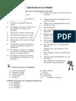 Que Haces en Tu Trabajo Worksheet