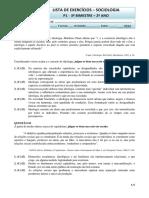 Lista de Exercicios Sociologia 2o Ano p1 3o Bim