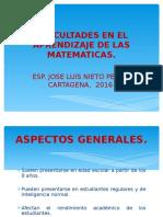 Dificultades en El Aprendizaje de Las Matematicas