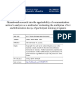 Operational research into the applicability of communication network analysis as a method of evaluating the multiplier effect and information decay of participant training programs