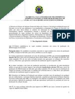 Edital Transferencia Interna Externa e Portador de Diloma Ifba